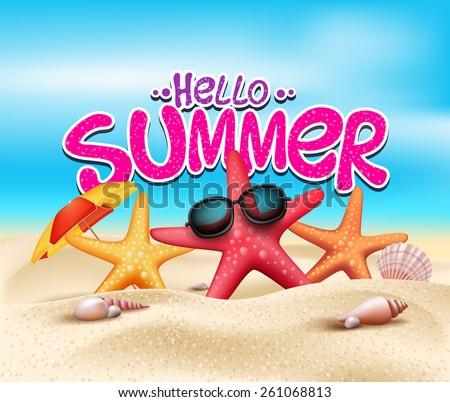 Vetor olá férias de verão tipografia ilustração tropical Foto stock © articular