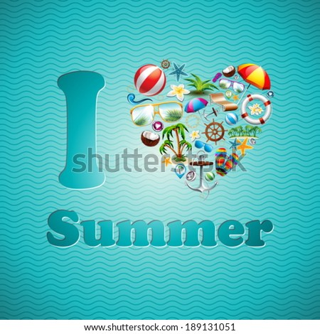 vector summer holiday typographic illustration with exotic leaf and flower on blue background tropi stock photo © articular