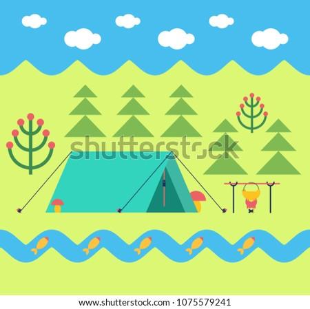 Trekking tente melon feu de camp campagne forêt Photo stock © popaukropa