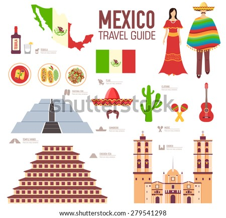 Country Mexico travel vacation guide of goods, places and features. Set of architecture, food, fashi Stock photo © Linetale