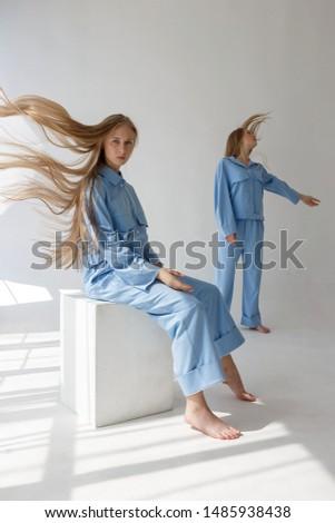 Сток-фото: девочек · близнецы · голубой · одежды · позируют · синий