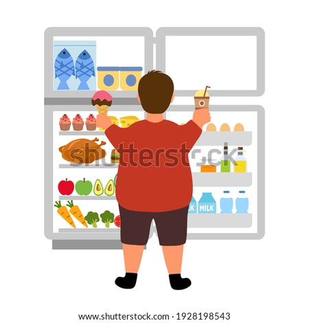 Man Midnight Snack Junk Food Illustration Stock photo © lenm