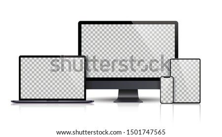 Realistic smartphones mockups black and white color. Stock vector illustration for printing advertis Stock photo © Designer_things