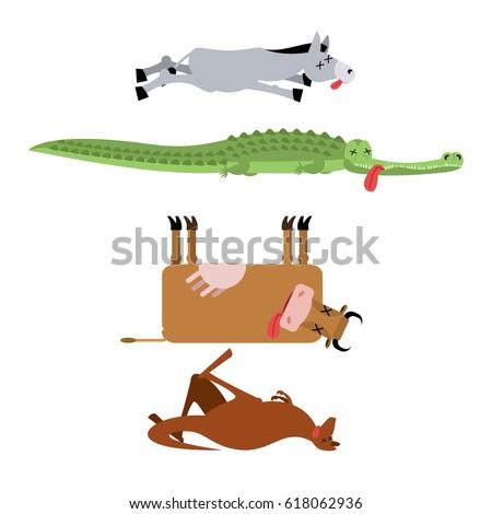 Morti animali set asino coccodrillo mucca Foto d'archivio © popaukropa