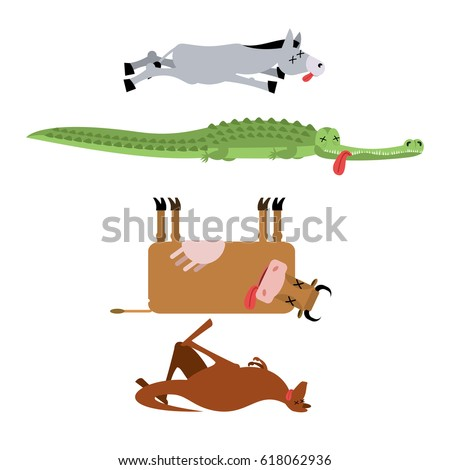 Dead animals set 3. Donkey and crocodile. Cow and kangaroo. anim Stock photo © popaukropa
