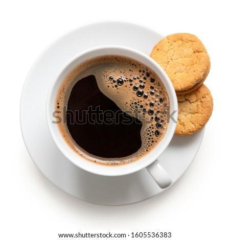 zwarte · koffie · beker · schotel · zwarte · cookies · steen - stockfoto © denismart