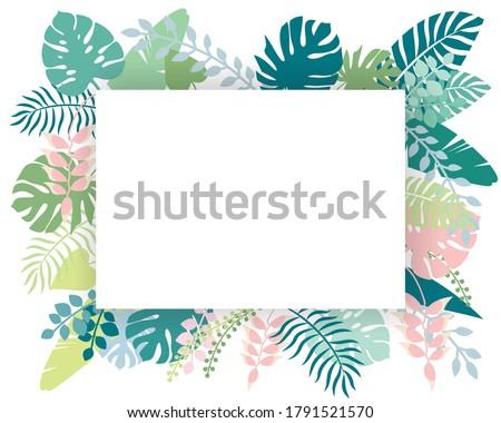 Sarok keret zöld trópusi pálmalevelek pasztell Stock fotó © artjazz