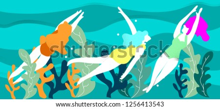 Swimming woman - modern colorful vector cartoon character illustration Stock photo © Decorwithme