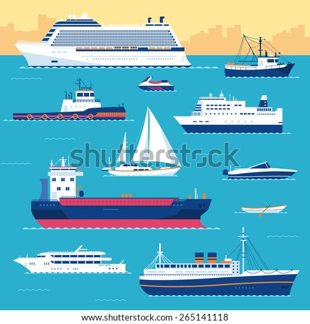 Set of flat yacht, scooter, boat, cargo ship, steamship, ferry, fishing boat, tug, bulk carrier, ves Stock photo © Linetale