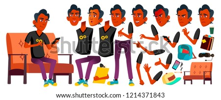 Teen Boy Vector. Animation Creation Set. Indian, Hindu. Asian. Face Emotions, Gestures. Leisure, Smi Stock photo © pikepicture