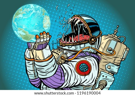 Astronaut monster earth planet. Greed and hunger of mankind conc Stock photo © studiostoks