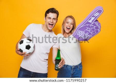 молодые любящий пару вентилятор Сток-фото © deandrobot