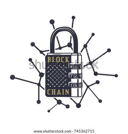 Blockchain emblem concept. Digital assets logo. Vintage hand drawn lock and block chain web. Monochr Stock photo © JeksonGraphics
