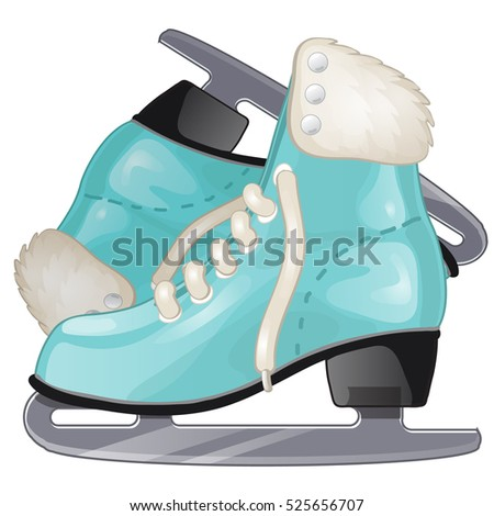 Pair of turquoise Ice skates isolated on white background. Vector illustration. Stock photo © Lady-Luck