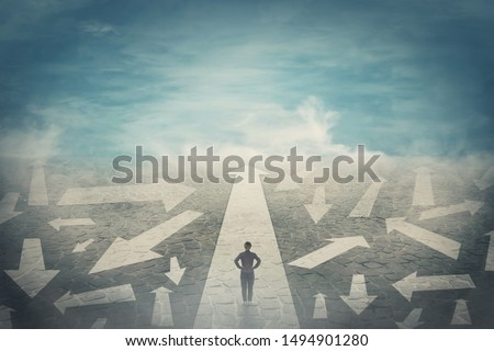 Business Woman Chooses A Path Of Ways, Direction, Strategy Vector. Isolated Illustration Stock photo © pikepicture