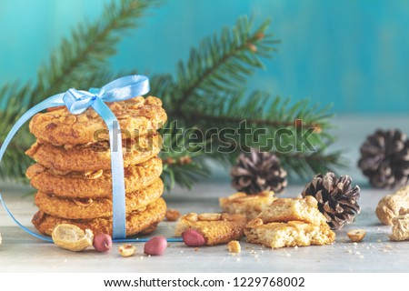 Stock photo: Christmas and New Year composition with delicious peanut cookies