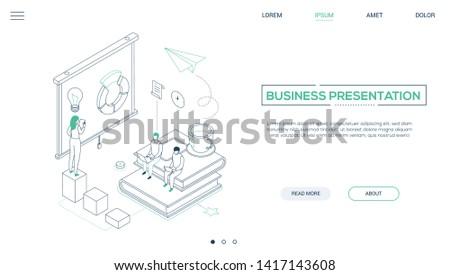 Business Coaching modernen line Design Stil Stock foto © Decorwithme