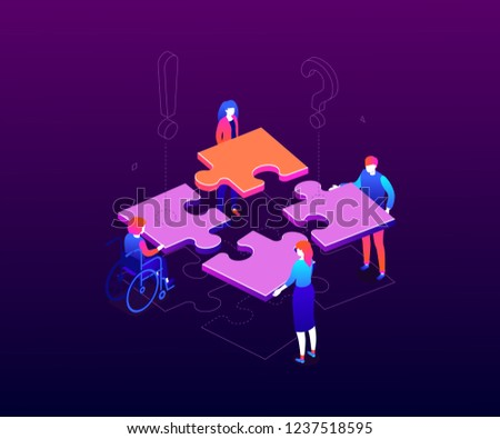 teambuilding concept   modern colorful isometric vector illustration stock photo © decorwithme