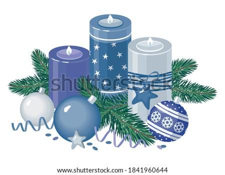 Christmas świece oddziału pokryty śniegu Zdjęcia stock © karandaev