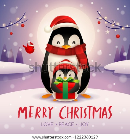 взрослый пингвин ребенка лунный свет Рождества снега Сток-фото © ori-artiste