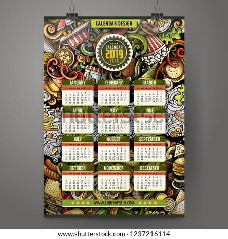 ストックフォト: 漫画 · カラフル · 手描き · 年 · カレンダー