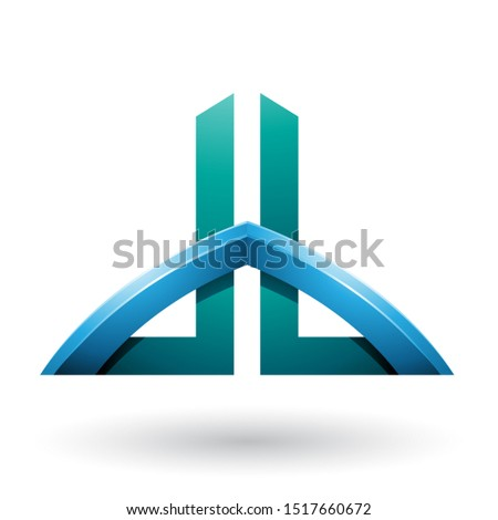 Blue and Green Bridged Skyscraper-like Letters of D and B Vector Stock photo © cidepix