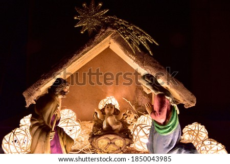 Holy family foreground. Christmas nativity scene. Birth of Christ Stock photo © Imaagio