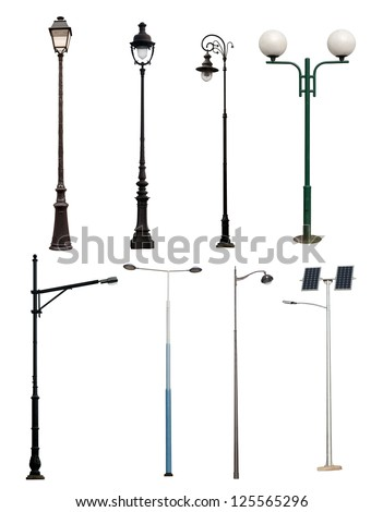 Set of vintage street lights isolated on white background. Vector cartoon close-up illustration. Stock photo © Lady-Luck