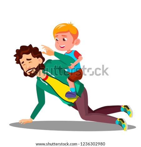 Father Rolling On His Back A Small Son Vector. Isolated Illustration Stock photo © pikepicture