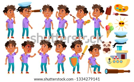 Boy Kindergarten Kid Poses Set Vector. Preschooler Playing. Friendship. For Web, Poster, Booklet Des Stock photo © pikepicture