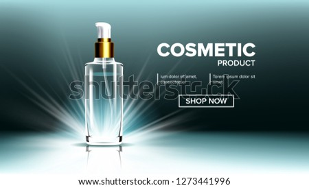 Cosmetic Glass Branding Background Vector. Spa, Makeup. Soft Spray. Bottle. 3D Isolated Transparent  Stock photo © pikepicture