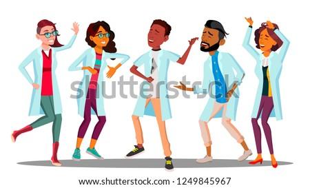 Dancing medico giorno gruppo felice medici Foto d'archivio © pikepicture