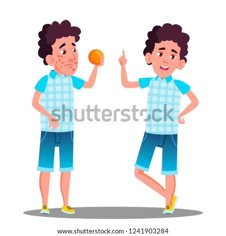 Allergic Reaction, Sad Boy With Red Spots Holding An Orange Vector. Isolated Cartoon Illustration Stock photo © pikepicture