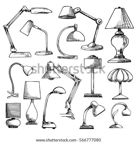 sketch desk lamp table lamp isolated on white background vector stock photo © arkadivna