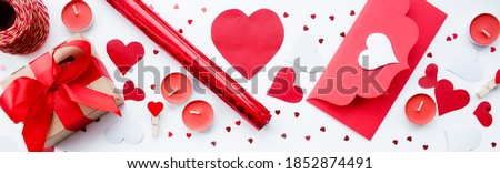 Valentines day romantic decoration with roses, boxed gifts, candles Stock photo © dash