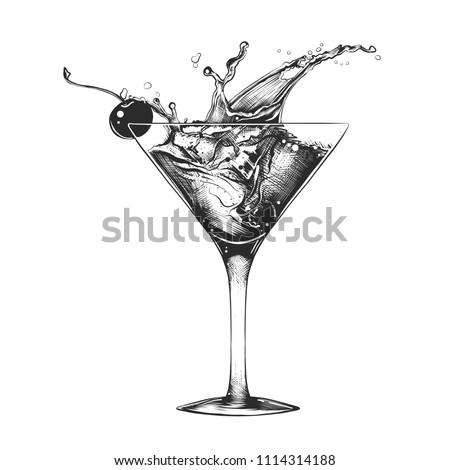 эскиз · коктейль · изолированный · белый · иллюстрация - Сток-фото © Arkadivna