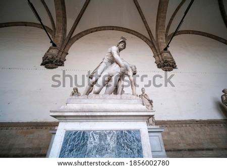 Statue Menelaus supporting the body of Patroclus in Loggia dei L Stock photo © boggy