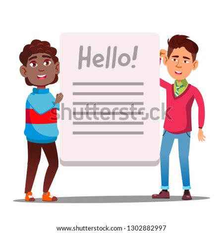 Asian Boy And Afro American Boy With Big Book Or Banner Vector. Isolated Illustration Stock photo © pikepicture