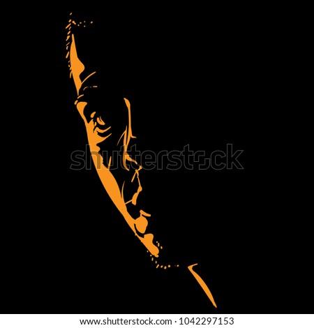 Visage silhouette jeunes séduisant Guy dessin Photo stock © ESSL