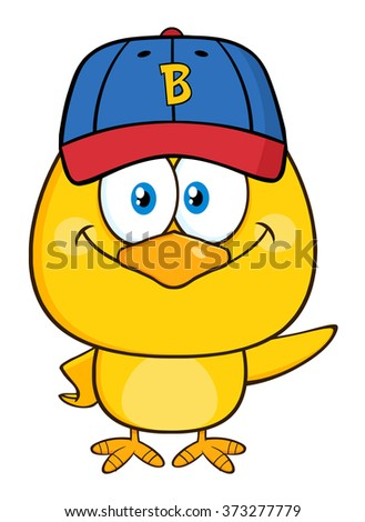Yellow Chick Cartoon Character Wearing a Baseball Cap and Holding A Fast Food Tray  Under Welcome stock photo © hittoon