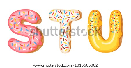 Donut icing upper latters - S, T, U. Font of donuts. Bakery sweet alphabet. Donut alphabet latters A Stock photo © MarySan