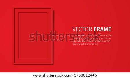 Gerçekçi dikdörtgen biçiminde kırmızı çerçeve şablon duvar Stok fotoğraf © MarySan