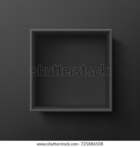 Foto stock: Abierto · negro · vacío · caja · de · regalo · oscuro · superior