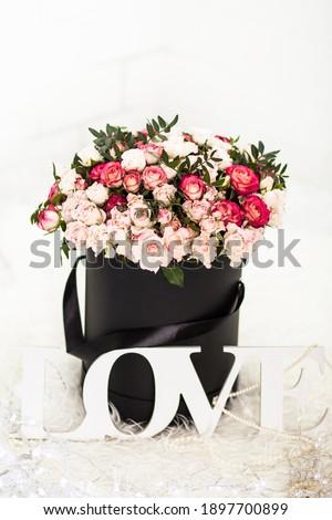 Coffrets cadeaux blanc noir couleur fleurs modernes Photo stock © Illia