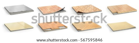 Set of floor tile with texture of wooden plank isolated on white background. The texture of parquet  Stock photo © Lady-Luck