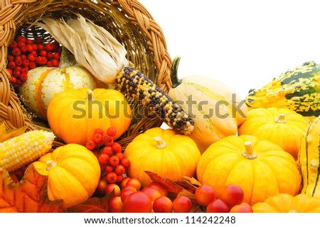 Fresh vegetables spilling from a cornucopia isolated on white background. Vector cartoon close-up il Stock photo © Lady-Luck