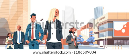 Vector illustration with cartoon characters. Team building. Leadership. Management. Successful team. Stock photo © bonnie_cocos