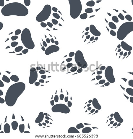 Bear paw pattern. Bear Claw seamless background. Footprint wallpaper. Vintage hand drawn silhoutte s Stock photo © JeksonGraphics