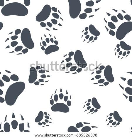 bear paw pattern bear claw seamless background footprint wallpaper vintage hand drawn silhoutte s stock photo © jeksongraphics