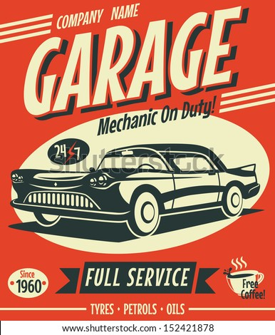 Car repair service retro poster with silhouette wheel and texts. Auto parts and mechanic on duty, tr Stock photo © JeksonGraphics
